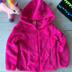 Bright Pink Furry Zip Up Hoodie 6/6x
